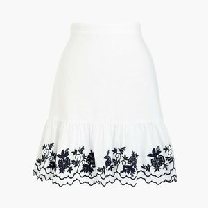 J Crew Factory White Floral Embroidered Skirt M